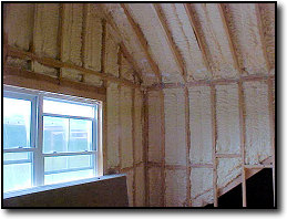 Foam insulation in wall space and roof structure.